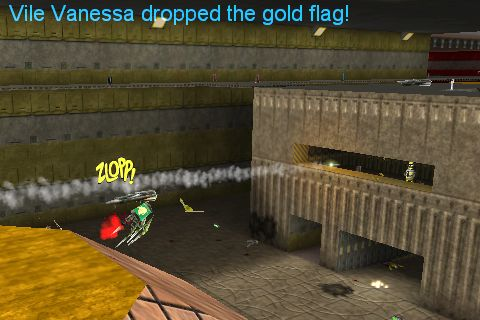 Gold Bender despatches flag thief Vile Vanessa,   from the back of the gold sniper box