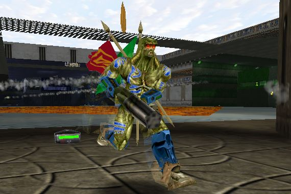 A blue bot carries the red and green flags into the gold base