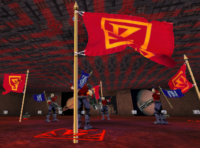 Four flagbearers are confronted with four red flags   in the red flag base