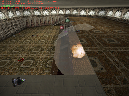 A view from the sniper platform on level 5  as a hapless bot explodes on level 3