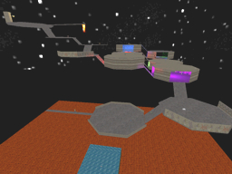 The platforms of DM-EvilSkyPad   stretch out across space, over a lava pit
